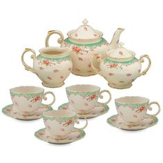 Found it at Wayfair - 11 Piece Vintage Green Rose Porcelain Tea Set