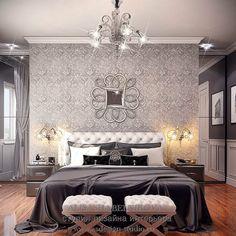 Дизайн интерьера спальни. Зона гардеробной расположена за изголовьем кровати, вход в неё с двух сторон. #спальня #интерьерспальни #дизайнспальни #дизайнинтерьера