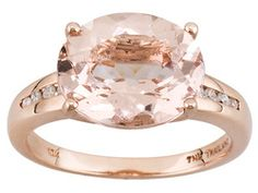 Cor-de-rosa Morganite 3.75ct Oval With Diamond Accent Round 10k Rose Gold Ring