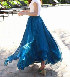 Hey, I found this really awesome Etsy listing at https://www.etsy.com/listing/185684298/peacock-blue-chiffon-skirt-maxi-skirt