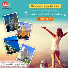 """The world is a book, and those who do not travel read only one page.""   So be a part of Book with OHO Holidays Travel Packages from #Chandigarh to #dubai & #Chandigarh to #Bangkok. Best Tour Package available with best festive offers.   Hurry Now Call - 8284019994 or Email us - support@ohoholidays.com and choose best tour package for you & your family.  #tourpackages #traveldeals #tourdeals"