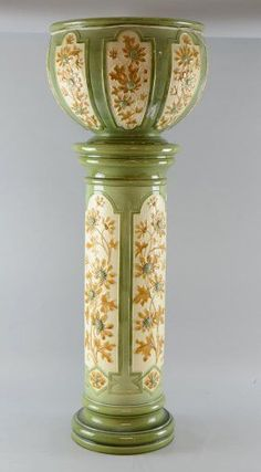 Antique Majolica Jardiniere and Pedestal | about Jardinieres with Pedestal on Pinterest | Pedestal, Pedestal ...