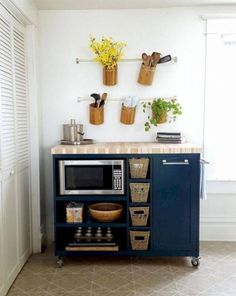Smart 30 DIY Kitchen Storage Solutions For Your Small Kitchen - Image 13 of 31 Apartment Kitchen Organization, Small Apartment Kitchen, Rustic Apartment, Kitchen Storage Solutions, Diy Kitchen Storage, Kitchen Shelves, Kitchen Cabinets, Table Shelves, Kitchen Units