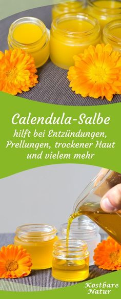 Calendula-Salbe – selbst gemachte Heilsalbe aus Ringelblumen An ointment with marigolds is one of the best remedies for injuries, inflammation and other skin problems. Homemade Cosmetics, Planting Vegetables, Hygiene, Companion Planting, Neutrogena, Natural Cosmetics, Skin Problems, Diy Beauty, Medicinal Plants