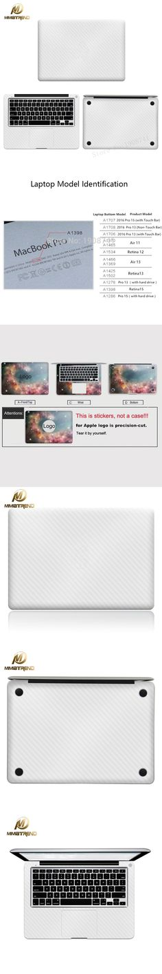 Mimiatrend White Carbon Fiber Full Body Cover Laptop Sticker For Apple Macbook Air Pro Retina 11 13 15 Inch Protective Skin Gift