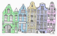 Added some computer colour to an old picture.  Think I may have to do a few more.  I rather like it.  Most pictures are on my blog are available to buy.  Originals, prints of varying sizes.  Check out my Etsy shop of drop me a line at georgewithears@gmail.com #Amsterdam #linedrawing #lineart #terrace #green #blue #yellow #pink #georgewithears.