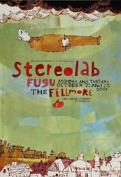 Original concert poster for Stereolab at the Fillmore in San Francisco, CA. on card stock. Art by Grady McFerrin. Cool Poster Designs, Graphic Design Posters, Music Illustration, Illustrations, Rock Posters, Band Posters, Norman Rockwell, Pop Art, Vintage Concert Posters