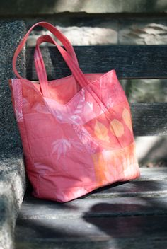 Purl Bee's 40 Minute Tote, Fabric Made With Red and Orange Inkodye Light Sensitive Dyes (Eclectic Mom)