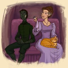 Young Havelock Vetinari and his aunt, Lady Roberta Meserole by tealin