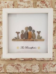 Handmade pebble art picture, can be personalised to your requirement of people and pets, any name or quote. Turn around 4-5 days Wooden wall hanging frame
