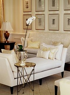 Living Room - Sarah Richardson Design. Like the daybed that doesn't block off traffic pattern, but adds seating, to living room.