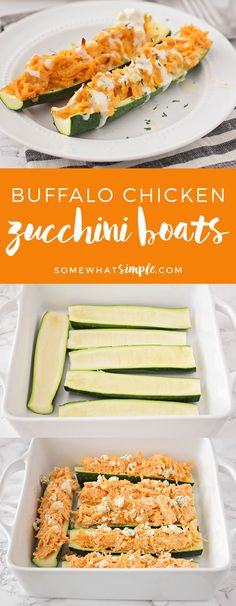 These savory and cheesy buffalo chicken zucchini boats are the perfect low-carb dinner! They're loaded with buffalo chicken flavor, and so easy to make!