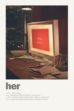 Image of Her - Minimalist poster Iconic Movie Posters, Minimal Movie Posters, Minimal Poster, Cinema Posters, Iconic Movies, Film Poster Design, Poster Designs, Non Plus Ultra, Movie Prints