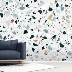 Adorn your wall with this made to measure Brown and Blue Terrazzo wall mural. FREE UK delivery within 2 to 4 working days. Grey Marble Wallpaper, Textured Wallpaper, Wall Wallpaper, Wall Painting Living Room, Room Accessories, Wall Murals, Wall Art, Terrazzo, Diy Home Decor
