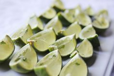 Mojito shots - how cute are these?! Thinking you can even use regular jello shot mix and fill the lime rinds with that for an easier version.