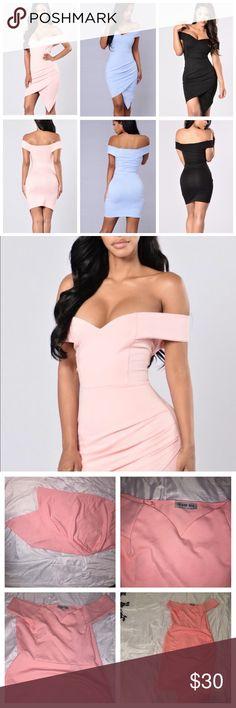 Off shoulder asymmetrical hem dress This is a pink off shoulder dress with an asymmetrical wrap skirt. It stretches. Purchased from Fashion Nova. Never worn.   Tags: Hello molly, hot miami styles, tobi, fashion nova, topshop, wow couture, boohoo, nasty gal, forever 21, f21, celeb boutique, house of cb, celebrity, model, club, evening, party, night, missguided, kardashian, bebe, aldo, arden b, body shop, asos, zara express bcbgmaxazria body central dash khloe kourtney kim kendall kylie jenner…