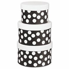 Nested Box Sets | Black & White Dots 3 Piece Nested Box Set | NBS-BWD by Bags & Bows