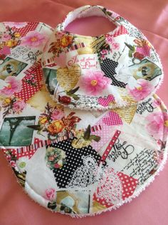 This one's my FAVORITE!!!   Victorian love print baby bib and matching by DazzlingCinsations, $12.00
