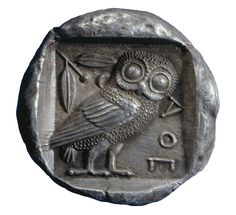 Athens was named after Athena, the Greek Goddess of wisdom. This coin depicts her symbol of the owl and the sacred olive tree. These designs remain unchanged on Athenian coinage for over 300 years, and the owls of Athens became familiar coins throughout the ancient Greek world.