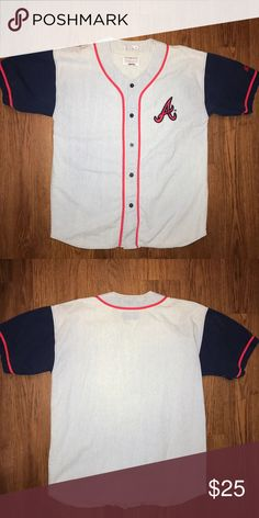 ATLANTA BRAVES BUTTON UP BASEBALL TEE Size: L Condition: Pre-owned - Good Price: : $25 Starter - MLB  Shirts Tees - Short Sleeve