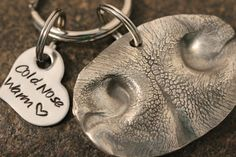 Dog Nose Impression Key Chain your ACTUAL by SayWhatCreations