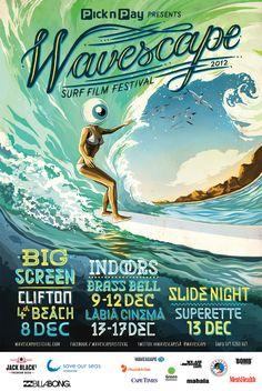 Illustration – Wavescape Surf Festival 2012 by Studio Muti , via Behance - Surfing Photos Festivals, Film Festival Poster, Surf Music, Film Big, Cool Posters, Surf Posters, Music Posters, Film Posters, Hawaii