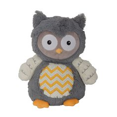 This sweet plush owl is soft and furry and is on trend with its chevron designed tummy and embroidered wings. Hoot measures 13.5 tall and 10.5 wide and is made of polyester. Care instructions: machine wash in gentle cycle, tumble dry low and remove promptly. Imported. Happi is our exclusive brand designed by the world renowned artisan Dena. Her infant products will make you and your little one Happi.