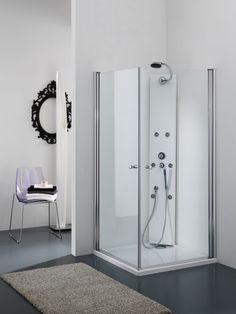 Box doccia Angolare con porte battenti finitura bianco 70/80/90 cm