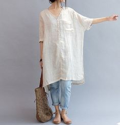 linen dress/long shirt over jeans - RHUBARB IN THE GARDEN