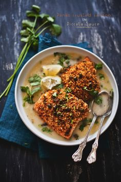 Panko Crusted Salmon in Piccata Sauce is a light effortless meal. Served with bread or salad on the side, it makes a great gourmet suppertime.