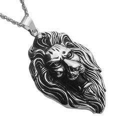 Stainless Steel Hip Hop Lion Necklace