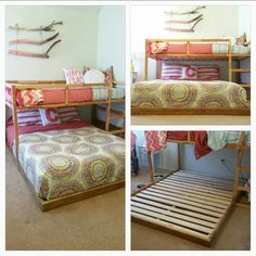 IKEA KURA hack to fit a queen bed below the lofted twin. We used 2x4s with a 2x2 affixed inside around the three sides of the queen that extend outward from under the bed, another 2x4 with 2x2 along the right side under the twin, & a 2x2 on top of & against the loft frame on the left side of the queen at the foot of the twin frame. Then we added a center support 2x2 down the middle, slats, & the mattress. It's a tight fit on the sides, but it works! Minwax classic oak stain was a great…