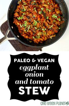 Eggplant Onion and Tomato Stew #paleo (for what it's worth, hey?!) and #vegan