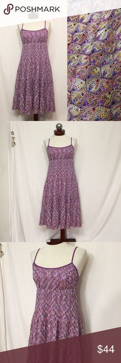 TRINA TURK $348 knit crochet overlay dress 4 Excellent condition! Crocheted multicolor polyester in a Missoni like pattern; overlays 100% silk lining. Adjustable shoulder straps. Fitted at bust. Bust 34 waist 36 hip open length 39 Trina Turk Dresses Midi
