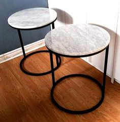 Marble-topped metal side tables - Broken Down Designs, Toronto Metal Side Table, Side Tables, Marble Top, Toronto, House Styles, Furniture, Design, Home Decor, Homemade Home Decor