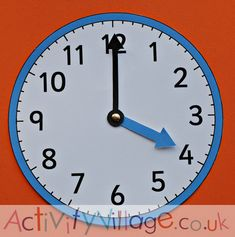 Blue teaching clock from Activity Village Maths Resources, Activities, Teaching Clock, Activity Village, Telling Time, Colouring Pages, Action, Blue, Quote Coloring Pages