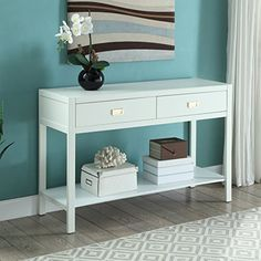Toma White Pine Wood Console Table FurnitureMaxx