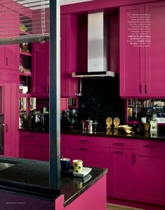 If you like hot pink this kitchen is for you.