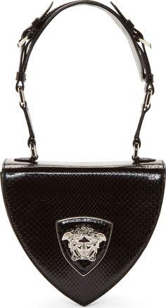 Versace Black Python Leather Silver Medusa Shoulder Bag