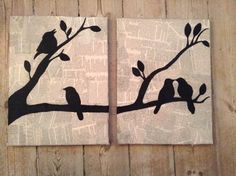 Birds on newspaper, canvas, diy, paintings
