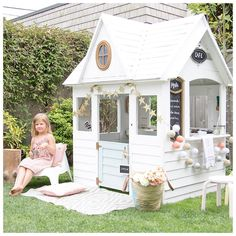 A Costco Playhouse Gets a Charming Scandi Makeover: gallery image 8 Costco Playhouse, Outside Playhouse, Build A Playhouse, Playhouse Outdoor, Playhouse Ideas, Painted Playhouse, Kids Wooden Playhouse, Childs Playhouse, Playhouse Windows
