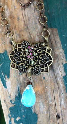 Steampunk Opalite and Crystal Filigree Necklace, Victorian Style on Etsy, $30.00