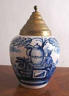 "Delft Ceramic Tobacco Jar With Brass Lid ""Maryland"" Signed LPK"