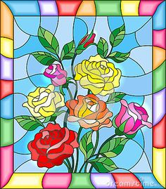 Stained glass illustration with flowers, buds and leaves of roses on a blue background