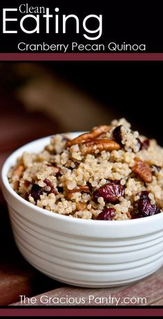 Clean Eating Cranberry Pecan Quinoa #CleanEatingRecipes #CleanEating #EatClean