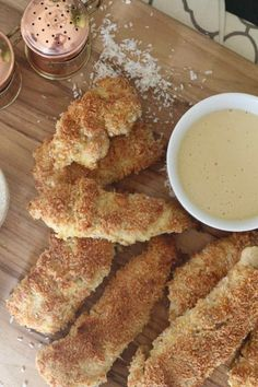 Almond and Coconut Crusted Chicken Strips with Light Honey Mustard from Haylie Duff of RealGirlsKitchen.com #paleo