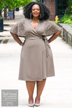 """Psst! This is the dress you've been searching for! Blogger Kareem (5'6"""" and a size 2x) from BigBellaDonna.com is flirty and feminine in our plus size Charming Lace Dress. Browse our entire collection for made in the USA styles at www.kiyonna.com. #kiyonnaplusyou"""