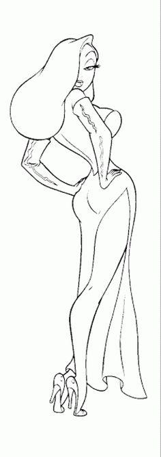 Jessica Rabbit black and white. How to draw Jessica Rabbit tutorial. Jessica Rabbit Tattoo, Jessica And Roger Rabbit, Jessica Rabit, Pin Up Drawings, Art Drawings Sketches, Cartoon Drawings, Cartoon Art, Rabbit Drawing, Rabbit Art