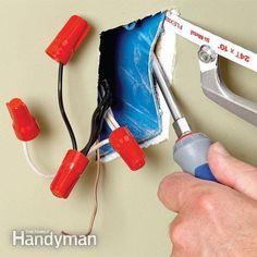 Adding an electrical receptacle or switch to an existing box can make it too crowded, but you can remove the old box and add a larger remodeling box without destroying the wall. by cathleen Home Electrical Wiring, Electrical Projects, Electrical Code, Electrical Outlets, Electrical Engineering, House Wiring, Electrical Connection, Bricolage, Tecnologia