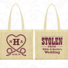 Stolen from Wedding, Imprinted Large Tote Bags, Monogram Wedding Bags, Monogrammed Bags, Bags and Totes (74)